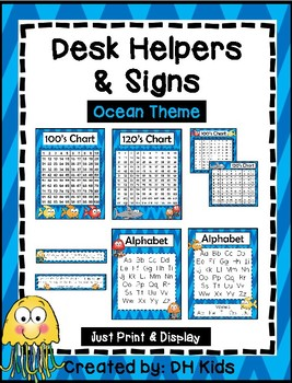 Desk Helpers & Signs: Letters & Number Charts - Ocean Theme