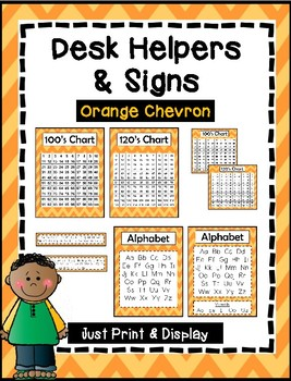 Desk Helpers & Signs: Letters & Number Charts - Orange Chevron