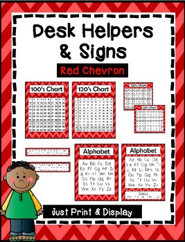 Desk Helpers & Signs: Letters & Number Charts - Red Chevron