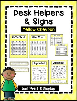 Desk Helpers & Signs: Letters & Number Charts - Yellow Chevron
