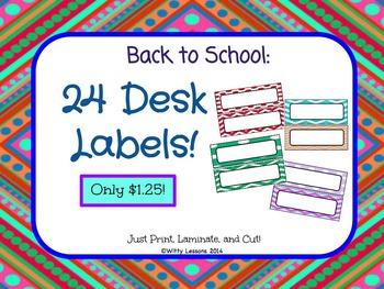 Desk Labels: Back to School Supplies
