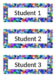 Name Tags - Desk Labels - Polka Dot - Blue