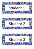 Name Tags - Desk Labels - Polka Dot - Blue