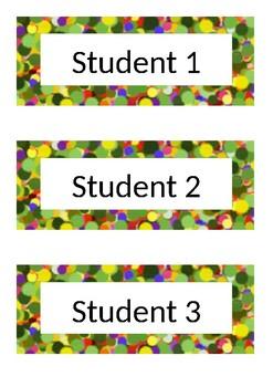 Desk Labels - Polka Dot - Green