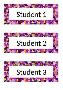 Desk Labels - Polka Dot - Purple