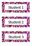 Name Tags - Desk Labels - Polka Dot - Purple