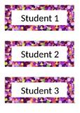 Name Tags - Desk Labels - Polka Dot - Purple