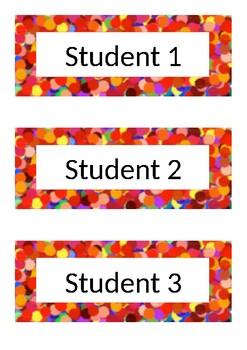 Desk Labels - Polka Dot - Red