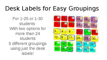 Desk Labels for Easy Groupings