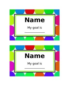 Desk Labels with Individual Goals