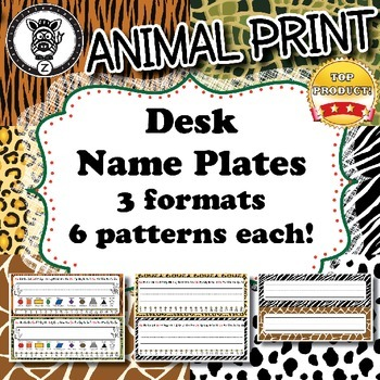Desk Name Plates  - Animal Print - ZisforZebra