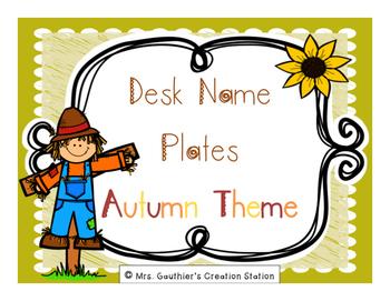 Desk Name Plates - Autumn Theme