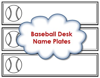 Desk Name Plates - Baseball