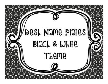 Desk Name Plates - Black and White Theme