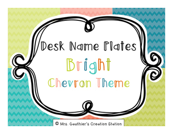 Desk Name Plates - Bright Chevron Theme