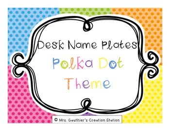 Desk Name Plates - Bright Polka Dot Theme