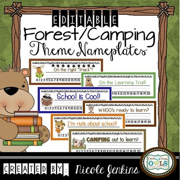 Forest/Camping Theme Nameplates Any Grade