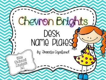 Desk Name Plates {Chevron Brights}