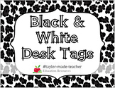 Desk Name Plates / Desk Name Tags {BLACK & WHITE Themes}