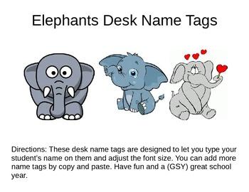 Desk Name Plates -- Elepants