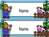 Desk Name Plates - Farm Theme