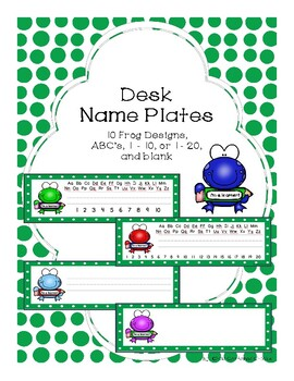 Desk Name Plates - Frog Theme