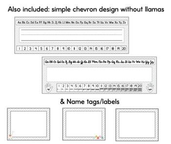Desk Name Plates - Llama Gray Background