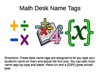 Desk Name Plates --- Math