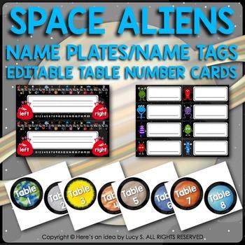 Desk Name Plates, Name Tags, Editable Table Cards - Space Classroom Decor Theme