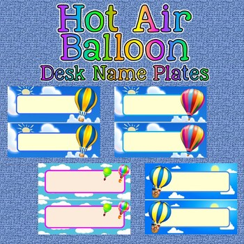 graphic about Printable Desk Name Plates known as Table Status Plates Printables - Scorching AIR BALLOON themed