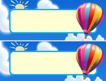photograph regarding Printable Hot Air Balloon titled Table Status Plates Printables - Incredibly hot AIR BALLOON themed