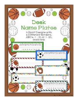 Desk Name Plates - Sports Theme