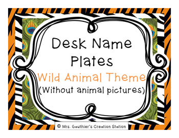 Desk Name Plates - Wild Animal Theme (W/O PICTURES)