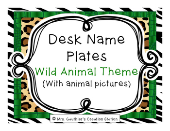 Desk Name Plates - Wild Animal Theme (WITH PICTURES)