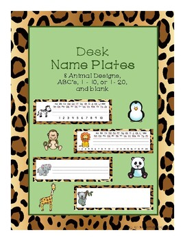 Desk Name Plates - Zoo Theme Leopard Print