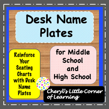 Desk Name Plates for Middle School and High School EDITABLE