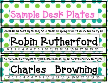 Desk Name Plates in Blues and Greens - some beach theme