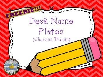Desk Name Plates**FREEBIE** Chevron theme  Back To School