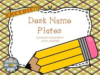 Desk Name Plates(Grn,Brwn,Ylw theme) **FREEBIE**  Back To School
