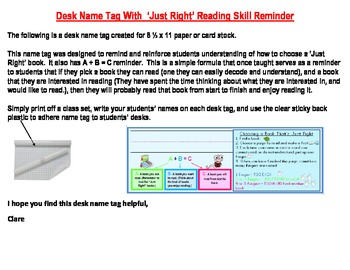 Desk Name Tag With 'Just Right' Reading Skill Reminder