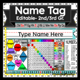 Editable Desk Name Tags- with Multiplication Table