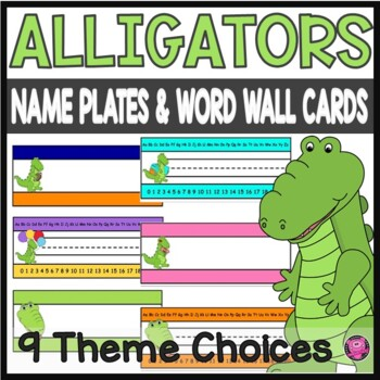Alligators Desk Plates with Alphabet and Number Line to 20
