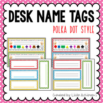 Desk Name Tags - Polka Dots Theme