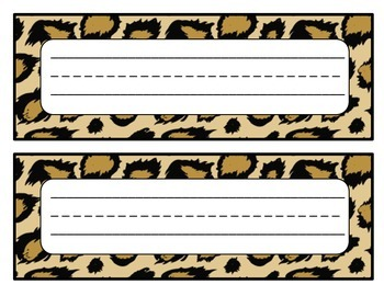 Desk Name Tags Animal Prints (10 different designs)