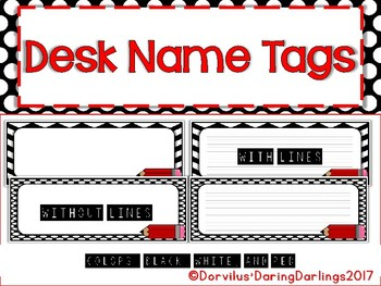 Desk Name Tags - Black, White and Red
