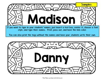Desk Name Tags Name Plates By Elementary Lesson Plans Tpt