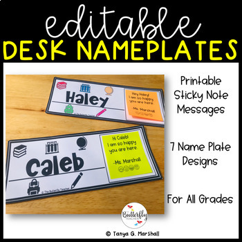 Desk Name Tags | Desk Name Plates | Desk Toppers  w/Sticky Notes {EDITABLE}