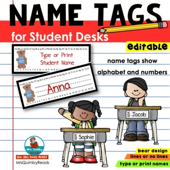 Desk Name Tags - Editable- Birds- Alphabet and Number Line