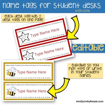 Desk Name Tags | Editable | Alphabet and Number Line