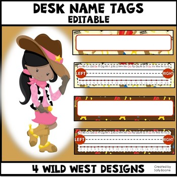Desk Name Tags Editable - Wild West Theme